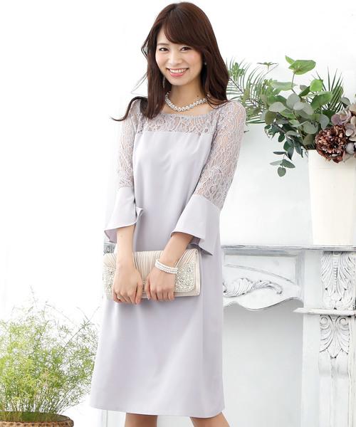9ef9205f36d07 ... ベルスリーブレースワンピース・ドレス. by PourVous. Color   ライトグレー  Color   ネイビー ...