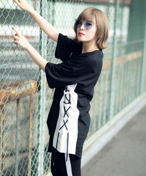 978660f7da925 Herden サイド切替ストリングTシャツ. by Herden. Color : ブラック; Color : パープル ...