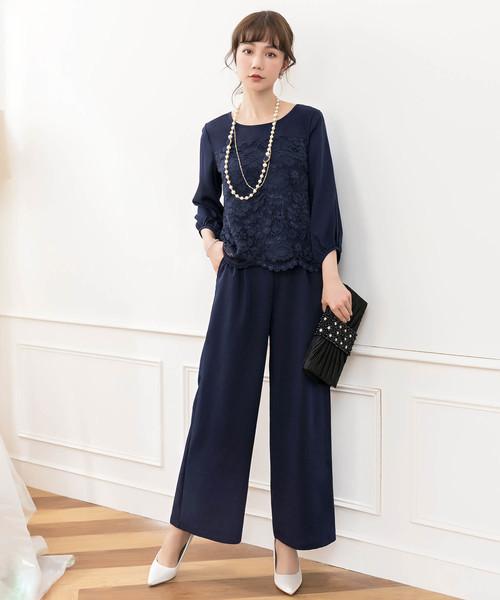 b135c15829e17 レースドッキングパンツドレス. by DRESS STAR. Color   ブラック  Color   ネイビー ...